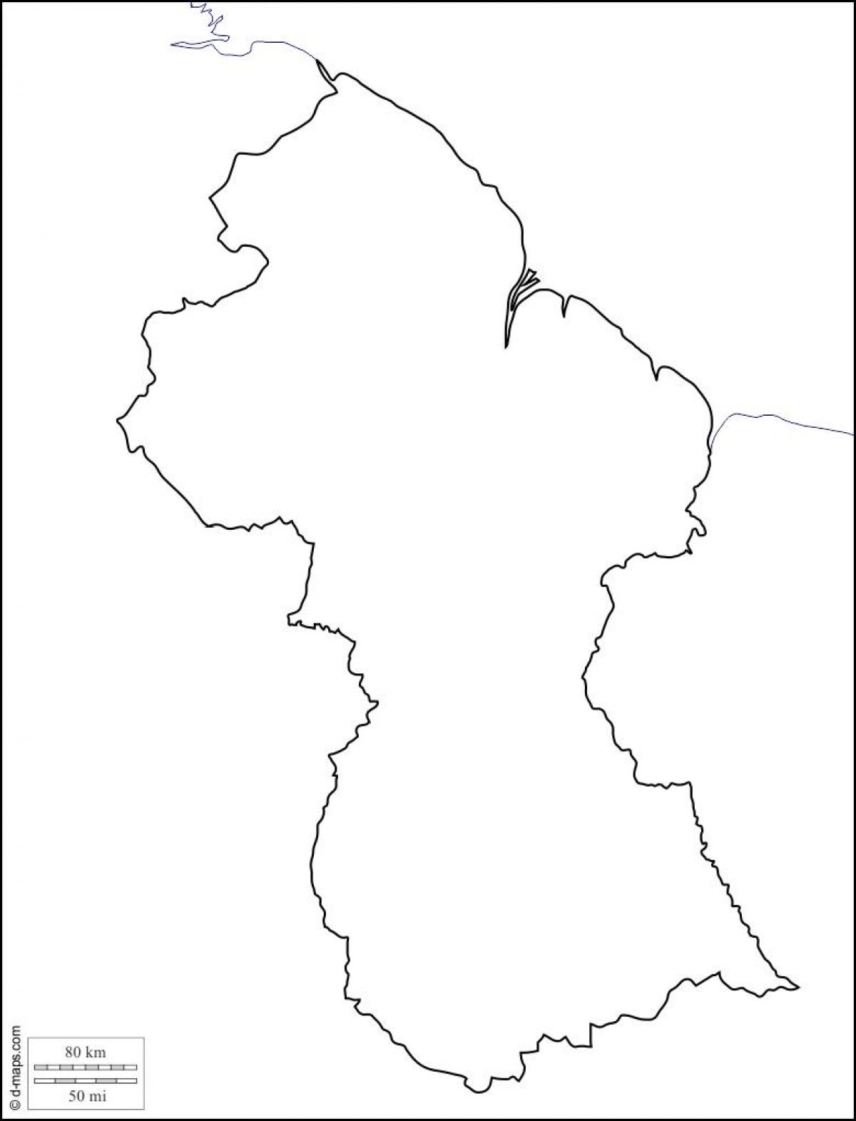 Guyana Kort Skitse Blanke Kort Guyana Sydamerika Nordamerika