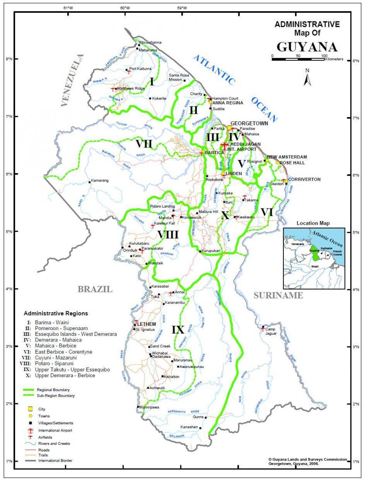 Guyana Kort Regioner Kort Guyana Der Viser Regioner Syd