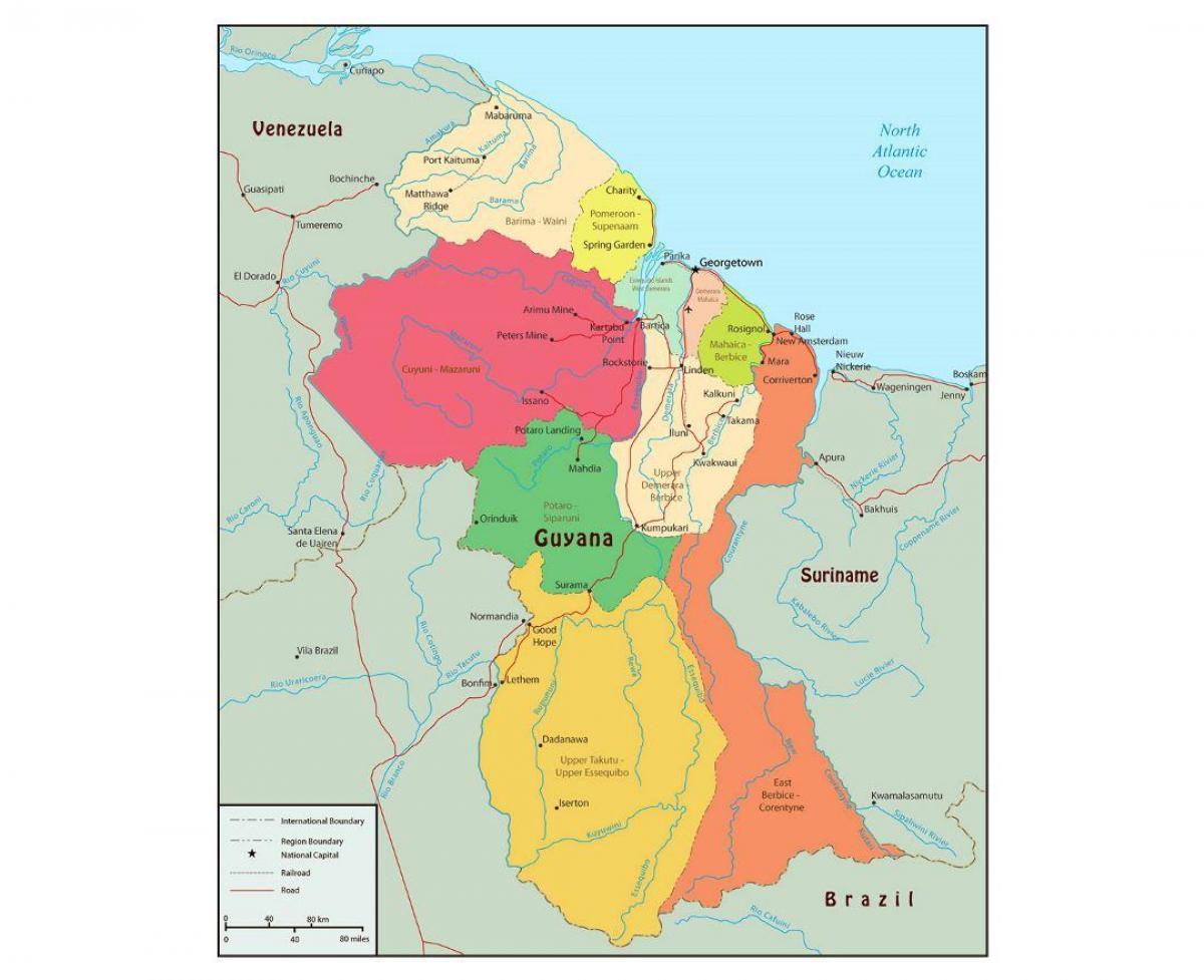 Guyana Regioner Kort Kort Over Guyana Der Viser 10